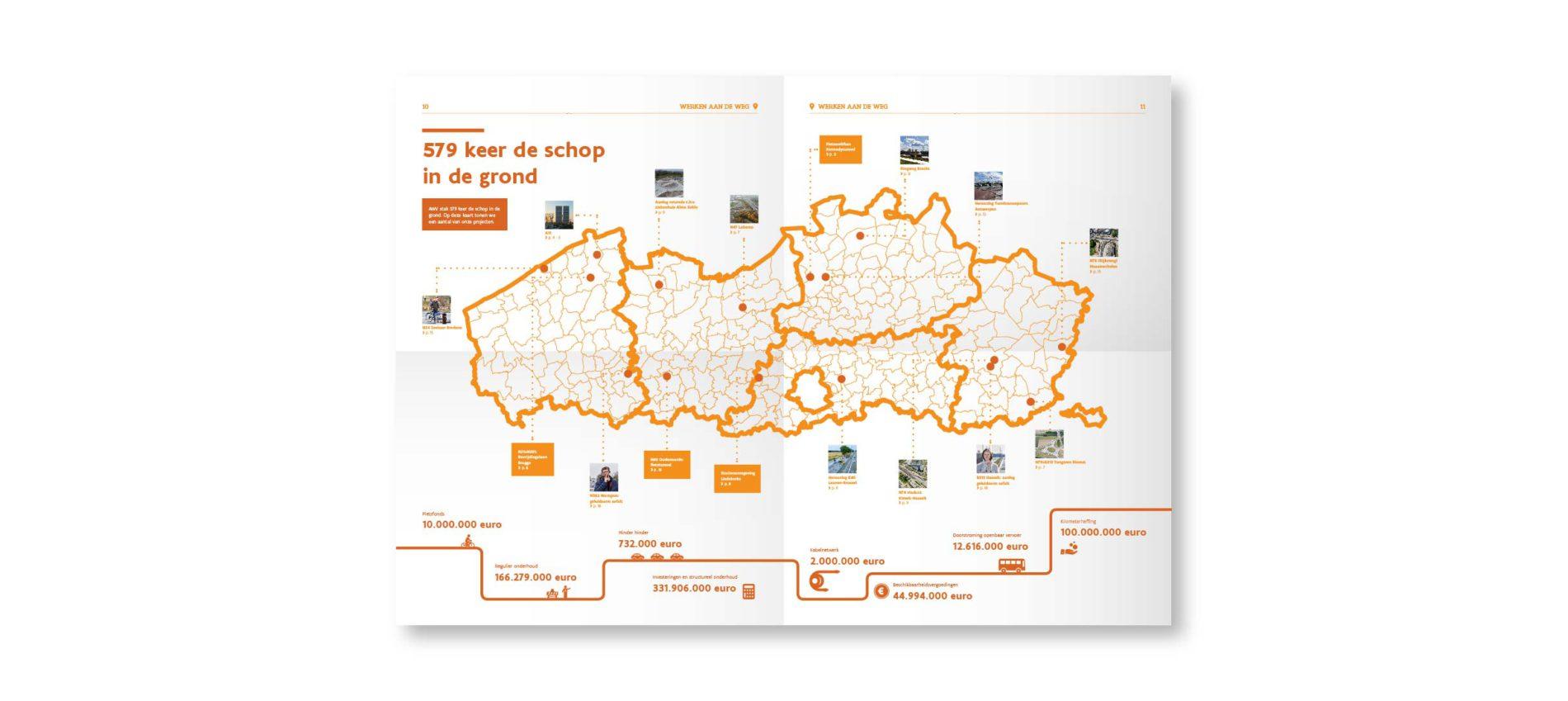 Kaart in het jaarverslag.