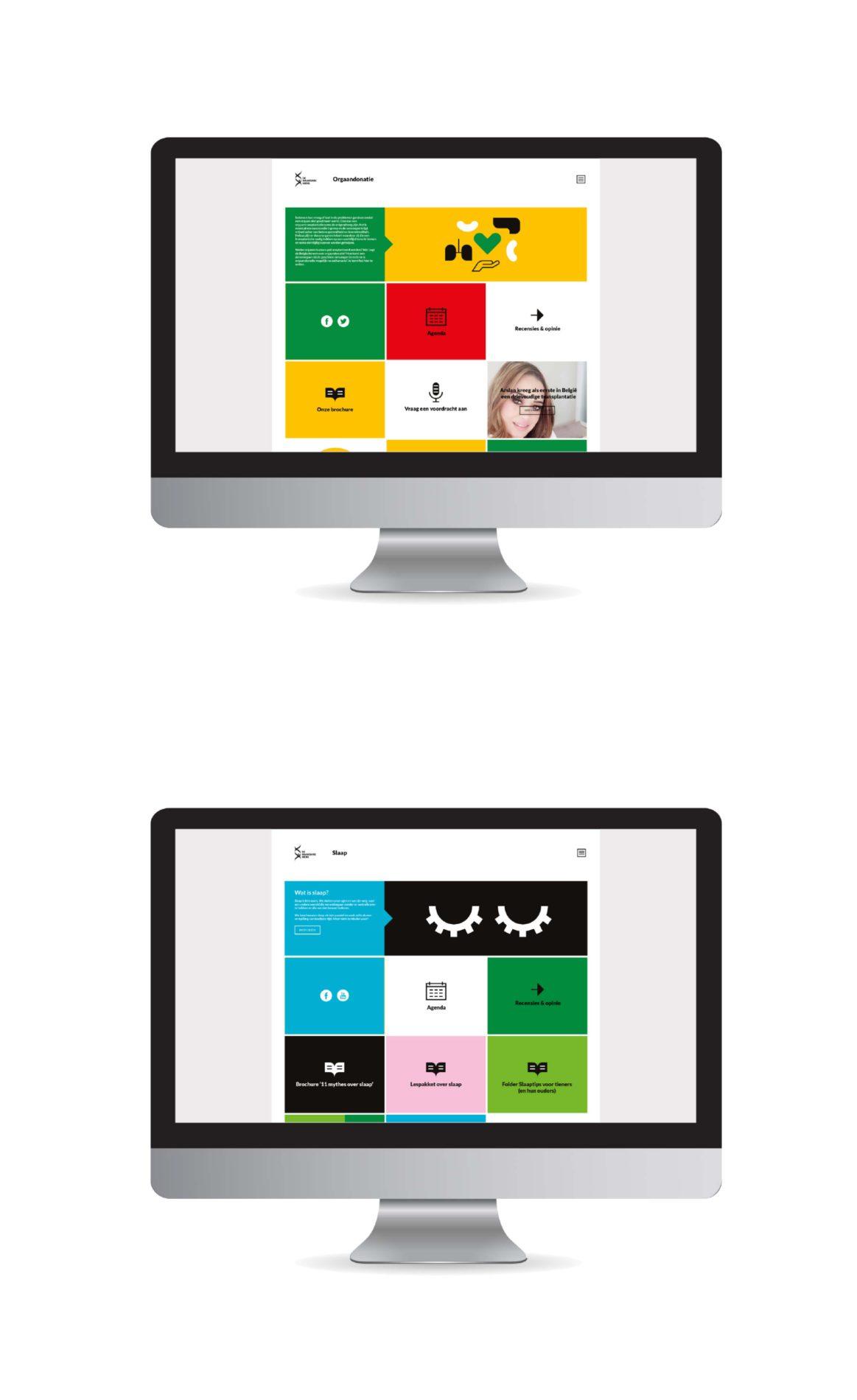 Mock-ups die we maakten voor de website.
