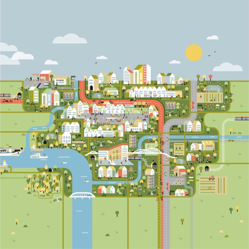 Gedetailleerde illustratie over de stad van de toekomst.