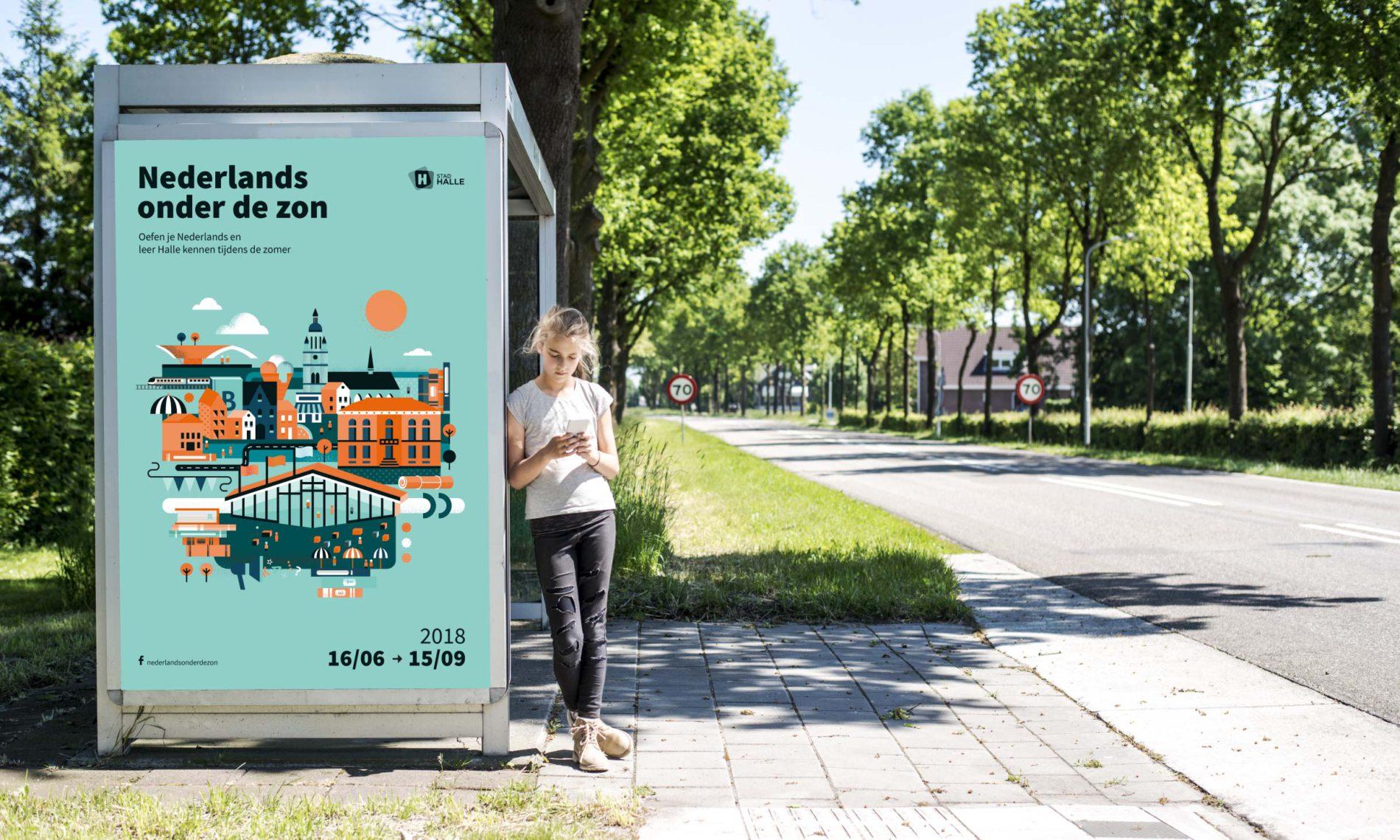 Affiche aan bushalte.
