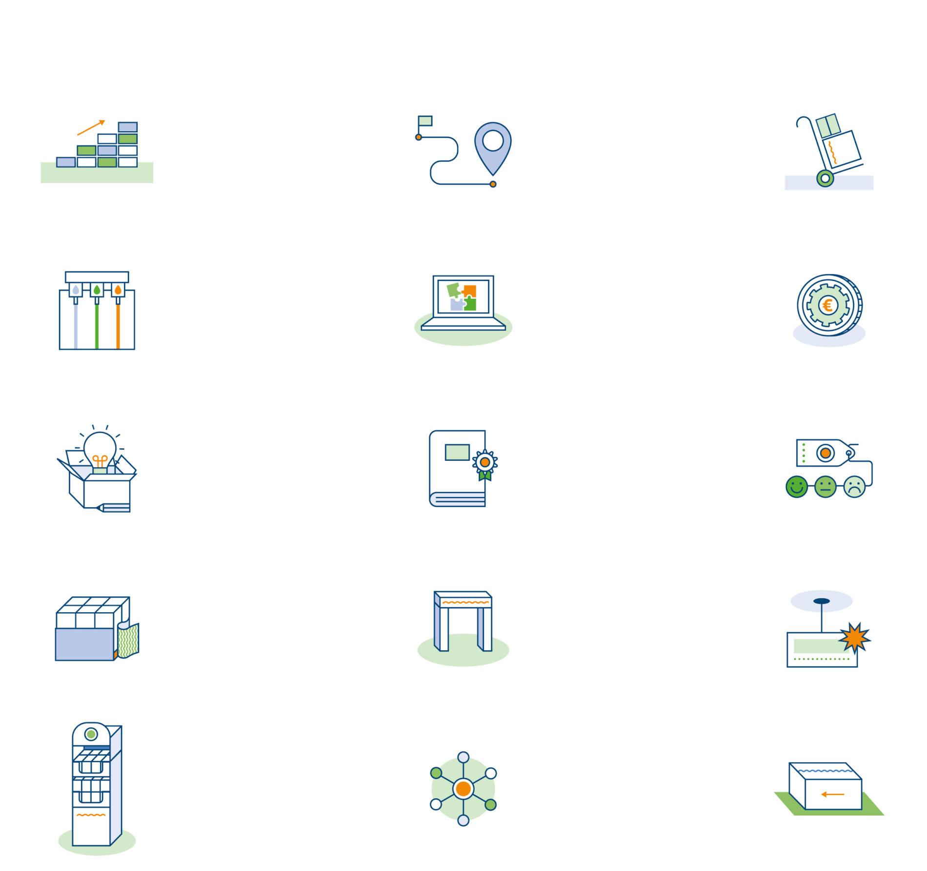 Pictogrammen over technische en algemene dingen.