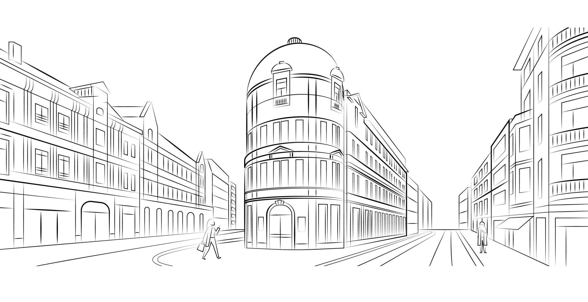 Lijntekening van modekwartier in Antwerpen
