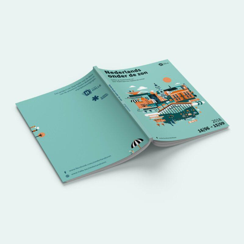 Nederlands onder de zon is een brochure die door ons bureau werd gemaakt in opdracht van stad Halle. We speelden met grafische vormgeving, typografie en illustraties.